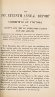 view Fourteenth annual report of the county and city of Worcester Pauper Lunatic Asylum.
