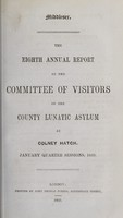 view The eighth annual report of the committee of visitors of the County Lunatic Asylum at Colney Hatch : January quarter session, 1859