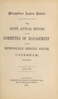 view The sixth annual report of the committee of management of the Metropolitan Imbecile Asylum, Caterham, Surrey : 1875-76.