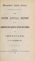 view The ninth annual report of the committee for and Darenth Asylum and Schools for imbeciles, to 31st December, 1882.