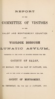 view Twentieth annual report of the medical superintendent of the lunatic asylum, for the counties of Salop and Montgomery, and for the borough of Wenlock, 1864 / [Salop and Montgomeryshire Counties Lunatic Asylum].