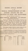 view Eighth annual report of the medical superintendent of the lunatic asylum, for the counties of Salop and Montgomery, and for the boroughs of Much Wenlock, Shrewsbury, and Oswestry. 1852