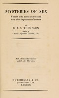view The mysteries of sex : women who posed as men and men who impersonated women / by C.J.S. Thompson.