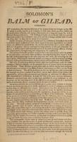 view Solomon's Balm of Gilead [and other patent medicines, etc.] / [Samuel Solomon].