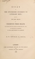 view Essay on the disorders incident to literary men: and on the best means of preserving their health : read before the Royal Society of Literature, Nov. 5, 1834 ...