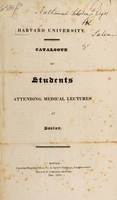 view Catalogue of students attending medical lectures at Boston.