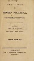 view Tentamen de morbo pellagra, Vindobonae observato / Auctore Aloysio Careno.