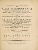 view Dissertatio inauguralis medica de acidi hydrocyanici puri in variis morbis efficacia novis observationibus comprobata / [Eduard Roch].