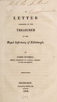 view A letter addressed to the treasurer of the Royal Infirmary of Edinburgh