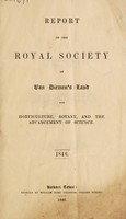 view Report of the Royal Society of Van Diemen's Land for Horticulture, Botany, and the Advancement of Science. 1846.