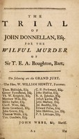 view The trial of John Donnellan, esq. (late master of the ceremonies at the Pantheon of Oxford-Street) at the assizes holden at Warwick on Tuesday the 27th of March, 1781, before Francis Buller, esq., one of the judges of the Court of King's Bench, for the wilful murder of Sir Theodosius Boughton, bart / Taken in shorthand by a barrister at law attending the Midland Circuit.