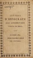 view Lettera d'Ippocrate agl' abderitani tradotta dal Greco / [Hippocrates].