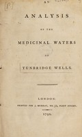 view An analysis of the medicinal waters of Tunbridge Wells.