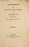 view Rapporto sopra lo stato degli spedali del Gran-ducato di Toscana fino al primo ottobre 1818.