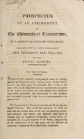 view Prospectus of an abridgment of The philosophical transactions, by a society of literary gentlemen; dedicated to the Right Honourable the President and Fellows of the Royal Society.