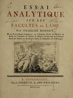 view Essai analytique sur les facultés de l'ame / [Charles Bonnet].