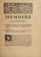 view Memoire signifié, pour la communauté des procureurs de la sénéchaussée d'Auvergne, & siége présidial de Riom : contre les juges consuls & les marchands de la même ville.
