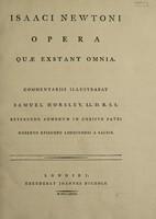 view Isaaci Newtoni Opera quae exstant omnia / Commentariis illustrabat Samuel Horsley.