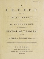 view A letter ... to Mr. Macpherson on his publication of Fingal and Temora. With a print of Cathmor's shield