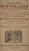view Operum omnium physico-medicorum supplementum secundum ...