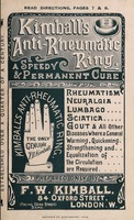 view Kimball's anti-rheumatic ring : a speedy & permanent cure for rheumatism, neuralgia, lumbago, sciatica, gout & all other diseases where a general warming, quickening, strengthening and equalization of the circulation are required prepared only by F.W. Kimball, 84 Oxford Street, London. W.