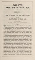 view Allsopp's pale or bitter ale : remarks upon the alleged use of strychnine in the manufacture of pale ale