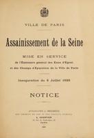 view Assainissement de la Seine : mise en service de l'Émissaire général des Eaux d'Égout et des Champs d'Épuration de la Ville de Paris inauguration du 8 juillet 1899 notice.