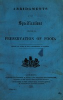 view Abridgments of the specifications relating to preservation of food