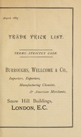 view Trade price list / Burroughs, Wellcome & Co.