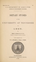 view Dietary studies at the University of Tennessee in 1895 / by Chas. E. Wait.