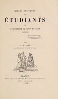 view Moeurs et usages des étudiants de l'Université de Pont-à-Mousson 1572-1768 / [J Favier].