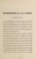 view Sir Benjamin Brodie, Bart., F.R.S., on tobacco.