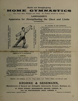 view Health and strength-giving home gymnastics for every man, woman and child : no family should be without Largiader's apparatus for strengthening the chest and limbs (patented) / Krohne and Sesemann.