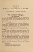 view Auszug aus den Statuten der medizinischen Fakultät der Kgl. bayerischen Universität München.