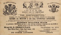 "view The configurotype : a hat to fit the head securely and yet comfortably can only be obtained by the aid of ""the configurotype,"" invented and most successfully used by Robert Heath for forty years Caution- an imitation is now being extensively advertised..."