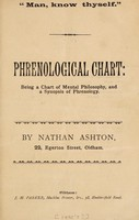 view Phrenological chart : being a chart of mental philosophy, and a synopsis of phrenology / by Nathan Ashton.
