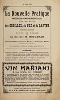 view La nouvelle pratique médico-chirurgicale des maladies des oreilles, du nez et du larynx : journal mensuel : 10 juin 1899