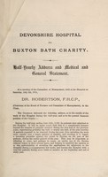 view Devonshire Hospital and Buxton Bath Charity : half-yearly address and medical and general statement ...