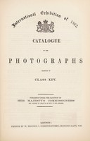view Catalogue of the Photographs exhibited in Class XIV.