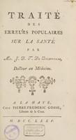 view Traité des erreurs populaires sur la santé / [D.T. de Bienville].