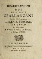 view Dissertazioni due / dell' Abate Spallanzani.