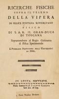 view Ricerche fisiche sopra il veleno della vipera / di Felice Fontana.