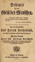 view Discurs über den Geist des Menschen ... / Aus dem Französischen ... Mit einer Vorrede Herrn J.C. Gottscheds.
