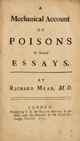 view A mechanical account of poisons in several essays