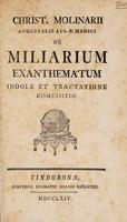 view De miliarium exanthematum indole et tractatione disquisitio