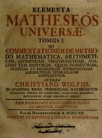 view Elementa matheseos universae / Autore Christiano Wolfio.