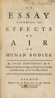 view An essay concerning the effects of air on human bodies