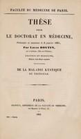view De la maladie kystique du testicle ... / par Louis Boutin.