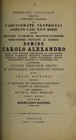 view De carcinomate ventriculi adjecto casu ejus morbi ...