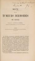 view Note sur les tumeurs dermoïdes du crane / par J. Giraldès.